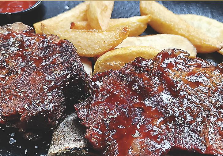 Glazed pork ribs with BBQ sauce