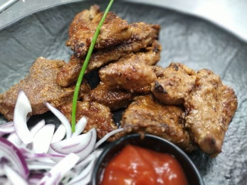 Fried grilled pork liver